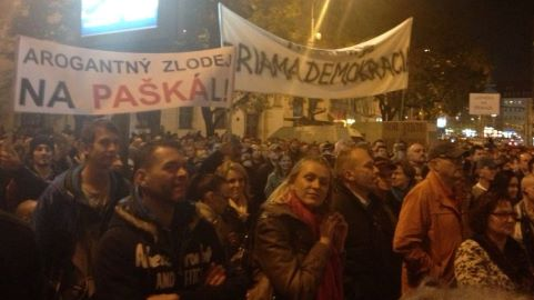 Anti-Paska rally in Bratislava, 1 day before he resigned (c) TheDaily.SK